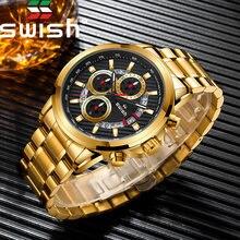 Swish золотые часы с хронографом 2020 Роскошные Кварцевые наручные
