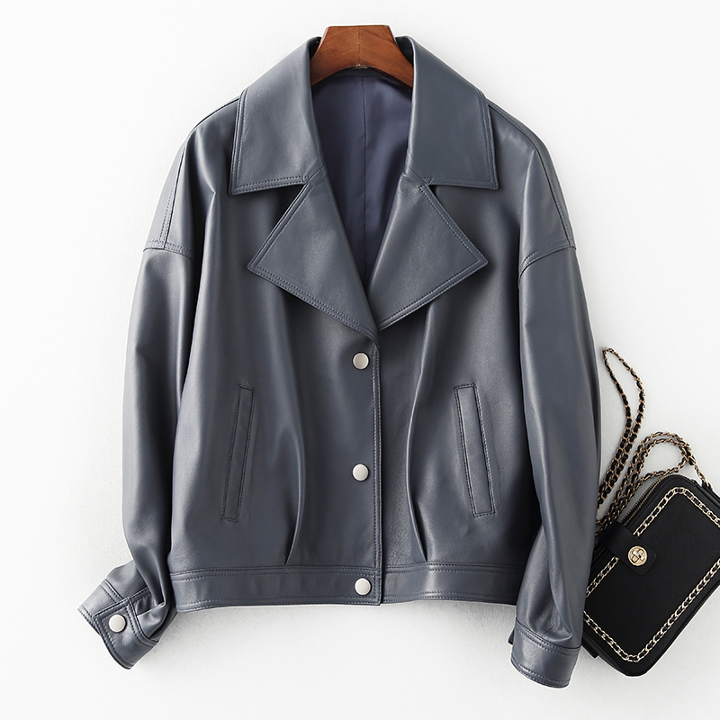 Leather Genuine Real Jacket Women Korean Sheepskin Coat Short Plus Size Motorcycle Jacket Chaqueta Mujer 6910 KJ3533