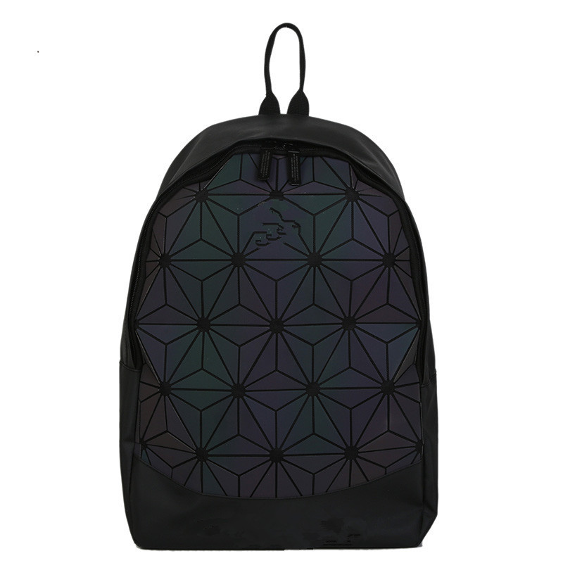 Women Backpack Luminous Geometric Plaid Sequin Female Backpacks For Teenage Girls Diamond Colorful Backpack Holographic Backpack