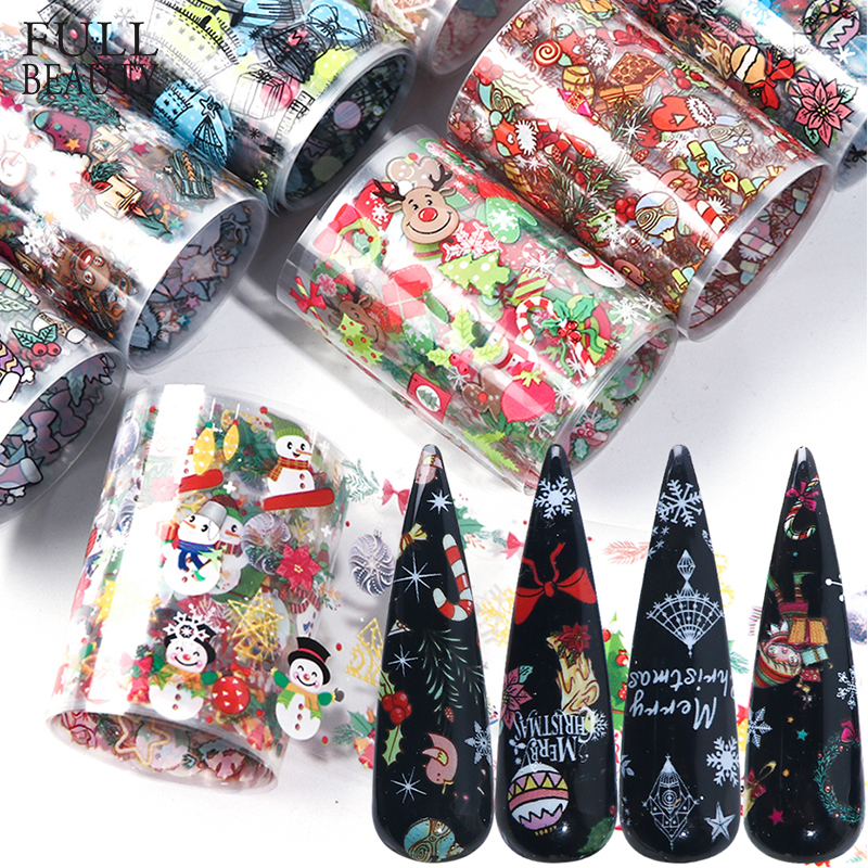 10pcs Christmas Decorations For Nails Mix Colorful Transfer Nail Foil Sticker Snow Flower Elk Gift Santa Adhesive Paper CH1036