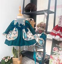 5 Bộ Bé Gái Thu Đông Xuân Xanh Nhung Vintage Tây Ban Nha Lolita Công Chúa Bầu Dres Với Quần Mũ Bé Gái sinh Nhật
