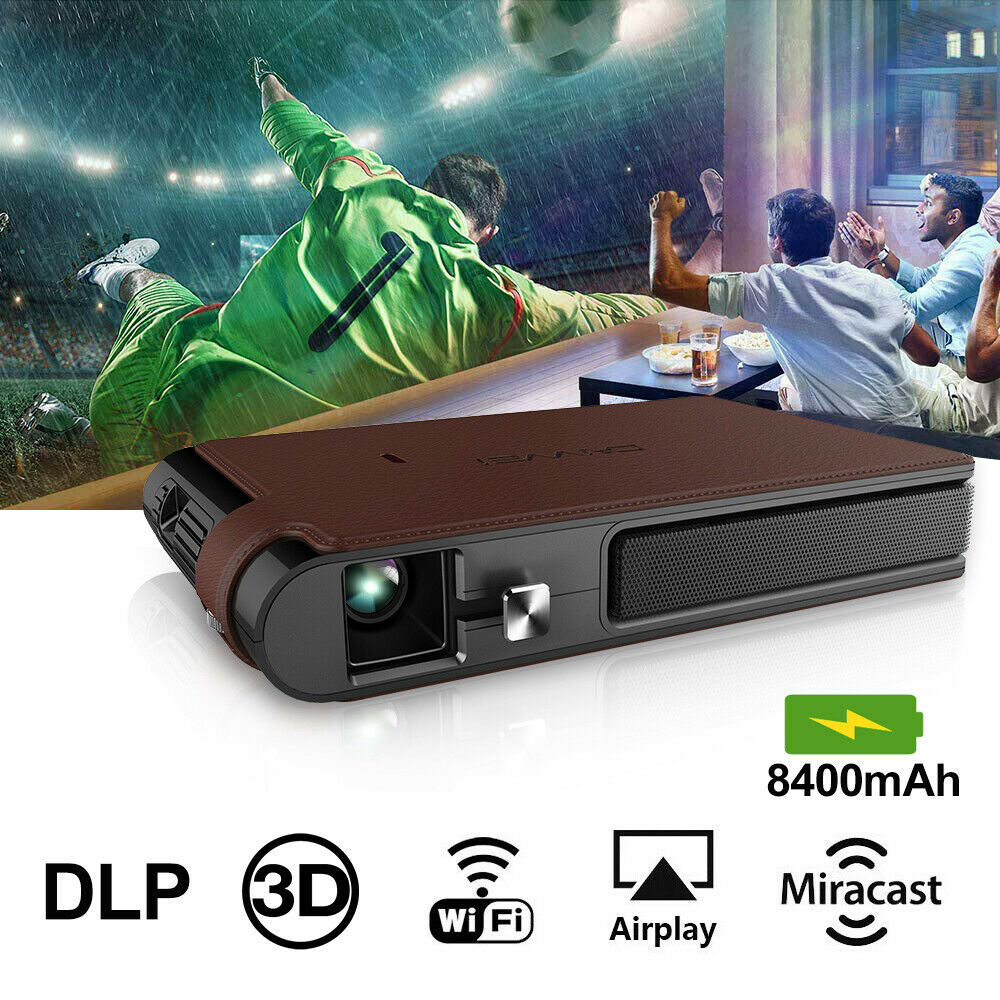 Portable Pocket <font><b>Mini</b></font> 3D DLP <font><b>Projector</b></font> LED Home Cinema Full <font><b>HD</b></font> Video WIFI Mobile Beamer For Smartphone TV image