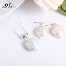 2019 Hot Sale Freshwater Baroque Pearl S925 Sterling Sliver Natural Earrings Necklace Set Fashion Womens Jewelry