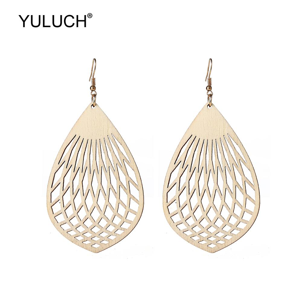 YULUCH Drop Earrings Ethnic African Beige Hollow Wooden Long Pendant Earrings Fashion Jewelry Light Bulb Pattern Dangle Earrings