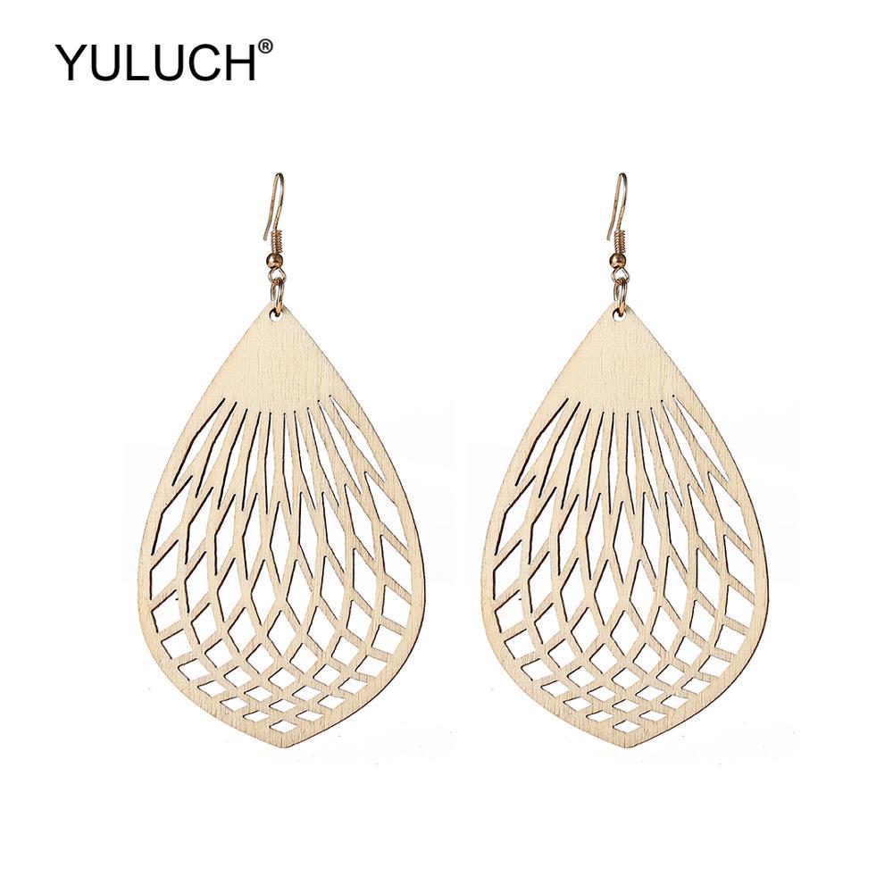 YULUCH Drop Earrings Ethnic African Beige Hollow Wooden Long Pendant Earrings Fashion Jewelry Light Bulb Pattern Dangle Earrings