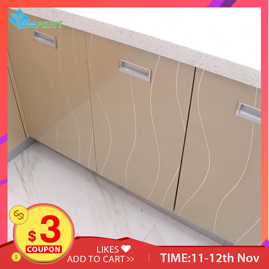 White Wavy Lines DIY Decorative Films PVC Waterproof Self-adhensive Wallpaper For Kitchen Cabinet Furniture Renovation Stickers