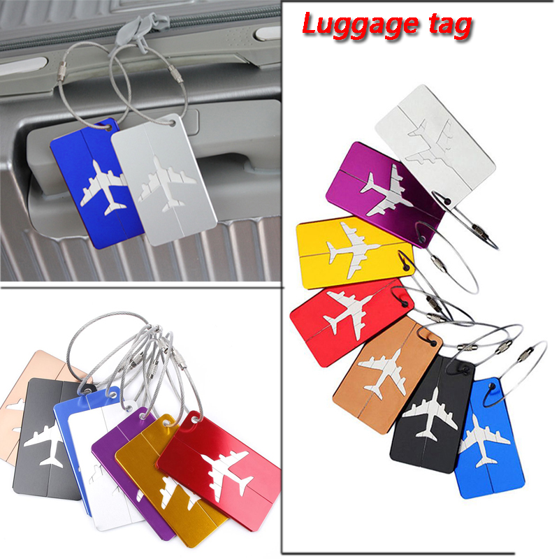 Airplane Shape Brushed  Square Luggage Tags ID Suitcase Personality Address Name Labels Travel Accessories Board
