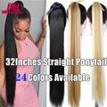Прямой синтетический конский хвост JINKAILI, 85 см, красный, розовый, фиолетовый парик, оптовая продажа, удлинители волос на клипсе, конский хвост