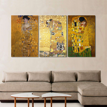 The Kiss by Gustav Klimt Canvas Painting Fine Art Prints Wall Picture For Living Room Home Decor Valentine's Day Gift image