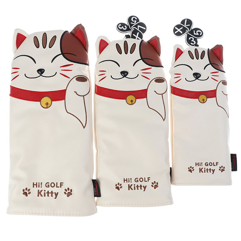 Cartoon Animal Cat Lucky Kitty Golf Club Head Covers Headcover Driver Fairway Wood Hybrid Covers Set