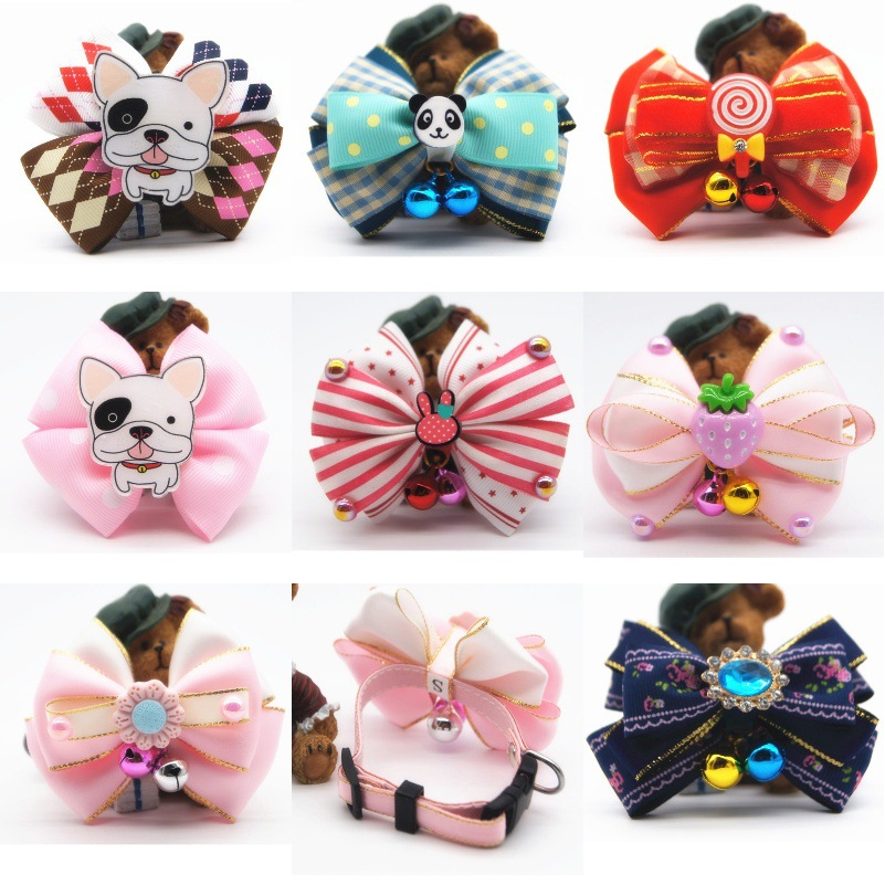 New Style Selectable Handmade Bow Bell Pet Collar Supporting Dog Traction Pet Supplies