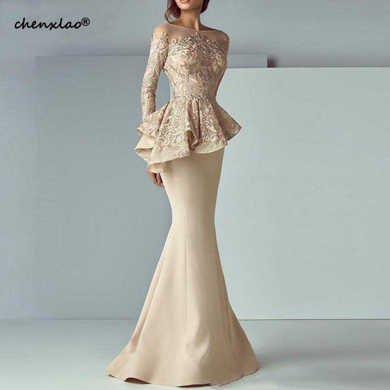 Champagne Mermaid Evening Dresses 2019 Long Evening Gown Long Sleeves Lace Peplum abiye Robe De Soiree Elegant Formal Dress