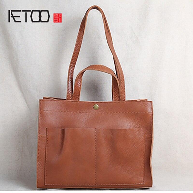 AETOO Leather lady temperament handbag, head leather one-shoulder bag, casual bag