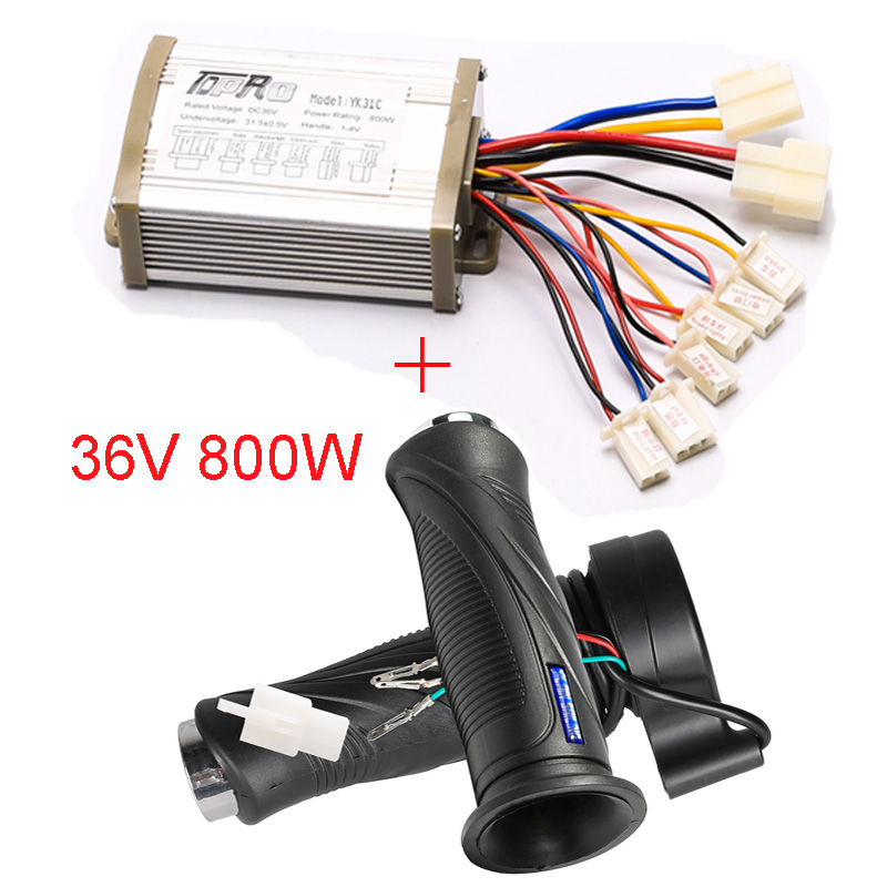 TDPRO Motorcycle <font><b>36V</b></font> 800W <font><b>Motor</b></font> <font><b>Brush</b></font> Controller Speed Throttle & Twist Grip for Electric Bicycle Scooter ATV Buggy Bike Go Kart image