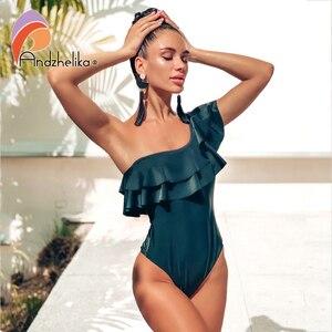 Image 1 - Andzhelika maillot de bain asymétrique à volants pour femmes, asymétrique épaule dénudée, vêtements de plage, noir, solide, 2020