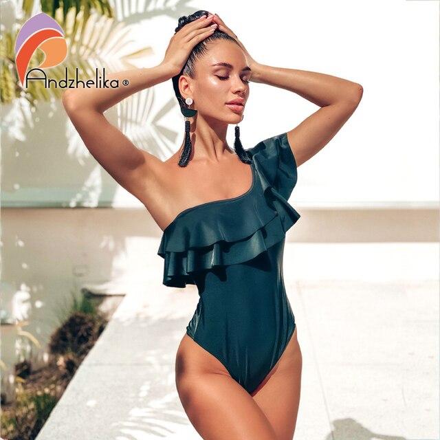 Andzhelika maillot de bain asymétrique à volants pour femmes, asymétrique épaule dénudée, vêtements de plage, noir, solide, 2020
