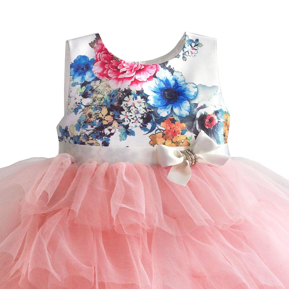 Zoeflower Summer New Style Printed Pure Cotton Performance Cake Dress Children Princess Dress Powder