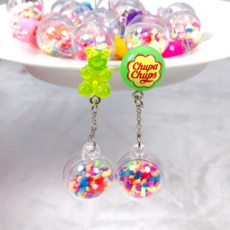 1Pair stud earring multicolours gummy bear earring resin candy with ball Earrings Fashion Jewelry Gift