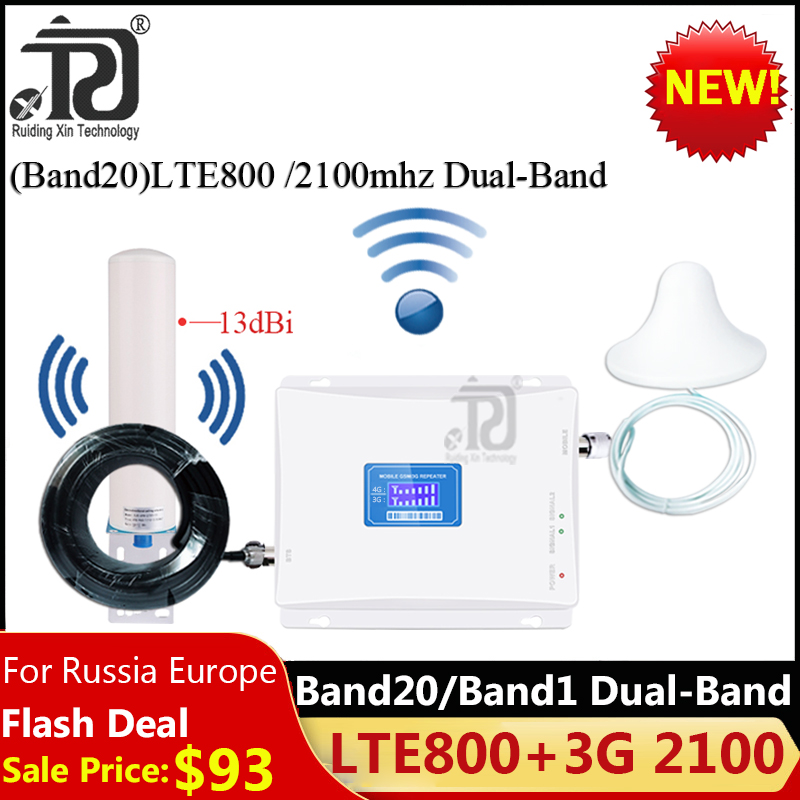 2019 New! Band20)LTE800 2100 Dual-Band Cellular Amplifier 3G 4G Network Signal Booster LTE 800 WCDMA 2100 Mobile Signal Repeater