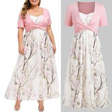 2PC Women Chiffon Dress With Crop Top Floral Printed Party Dresses Plus Size Short Sleeve Long