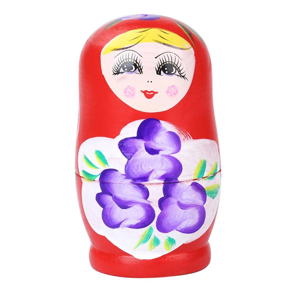 5pcs Wooden Novelty Russian Nesting Matryoshka Doll Set Hand Painted Decor Russian Nesting Dolls Baby Toy Girl Doll wholesale 8