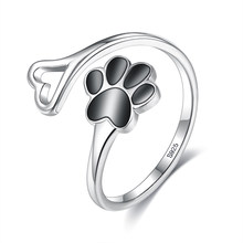 ZEMIOR Cute Animal Paw Footprint Heart Ring For Women 925 Sterling Silver Black Zircon Adjustable Finger Ring Silver 925 Jewelry