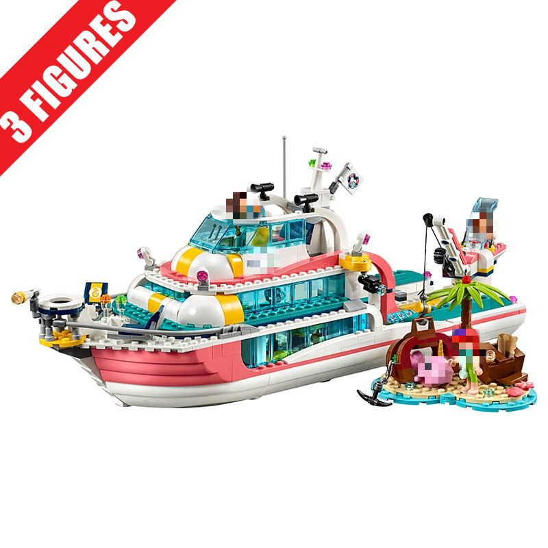 Hot 86068 Rescuse Ship Compatible With Friends Girl City 41381 41375 Building Blocks Brick DIY Toys Christmas Gifts