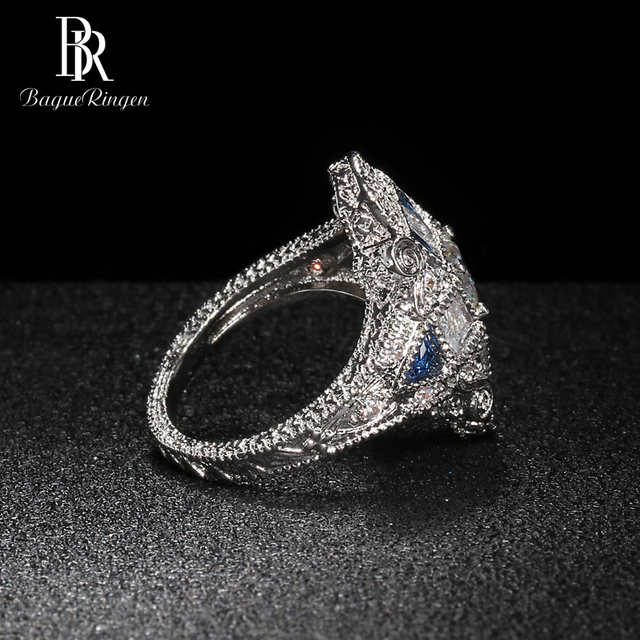 Bague Ringen Geometry Silver 925 Jewelry Gemstones Ring for Women Sapphire Ruby Exaggerated style Female Gift Wholesale Party 3