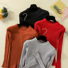 цена на Pullover Sweater Women 2019 Ruffle Frill Trim Slim Knitted Sweater Winter Clothes Women O Neck Solid Casual Ladies Knit Tops