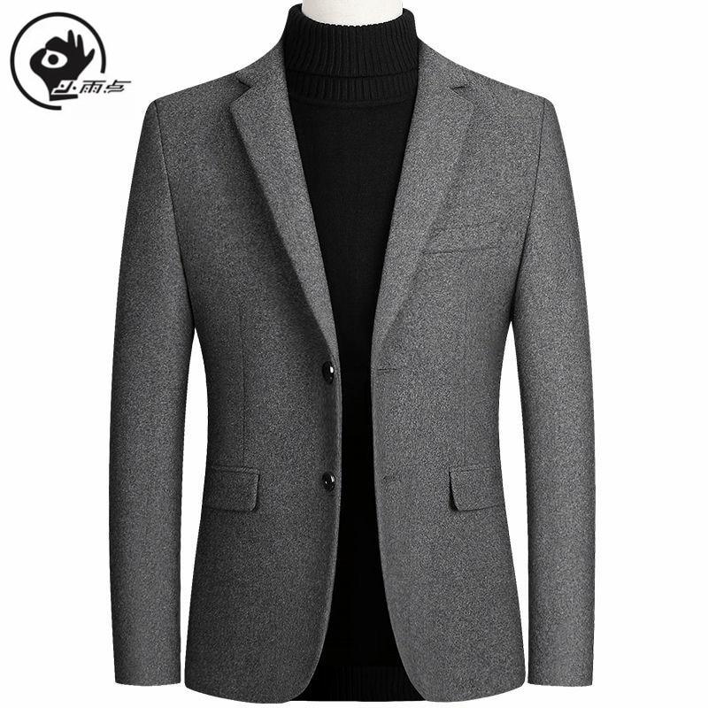 XiaoYudian Solid Blazer British Stylish Male Blazer Suit Jacket Business Casual For Men Regular Woolen Coat Brand