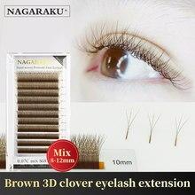 Nagaraku brown flor automática w forma bloom 3d pré-feito fãs extensões de cílios luz suave natural cílios individuais completo denso