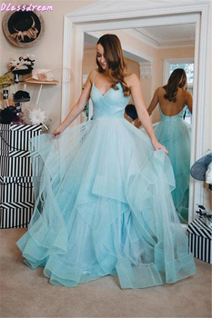 цена Ruffels Prom Dress Sky Blue Spaghetti Straps Floor length Tiered V-neck Tulle Sexy Backless Evening Dress коктейльные платья онлайн в 2017 году
