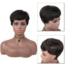 Short Human Hair With Bangs Wigs Brazilian Human Hair 100% Remy Hair Extension Afro Human Hair Wig For Black/White Women