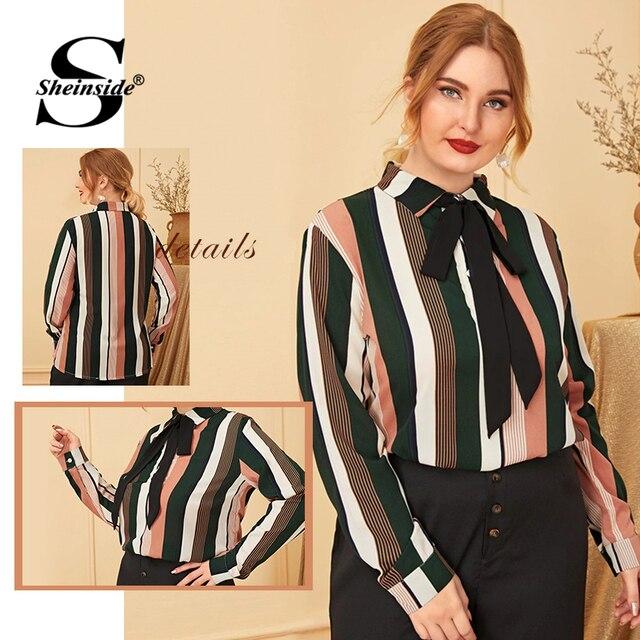 Sheinside Plus Size Elegant Stripe Print Blouse Women 2019 Autumn Bow Tie Neck Colorblock Blouses Ladies Casual Print Top 4