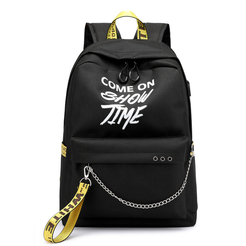 USB Hip Hop Ladies Backpack Off Fashion White Women Bags High Quality Large Capacity Student Bag Casual Travel Backpacks