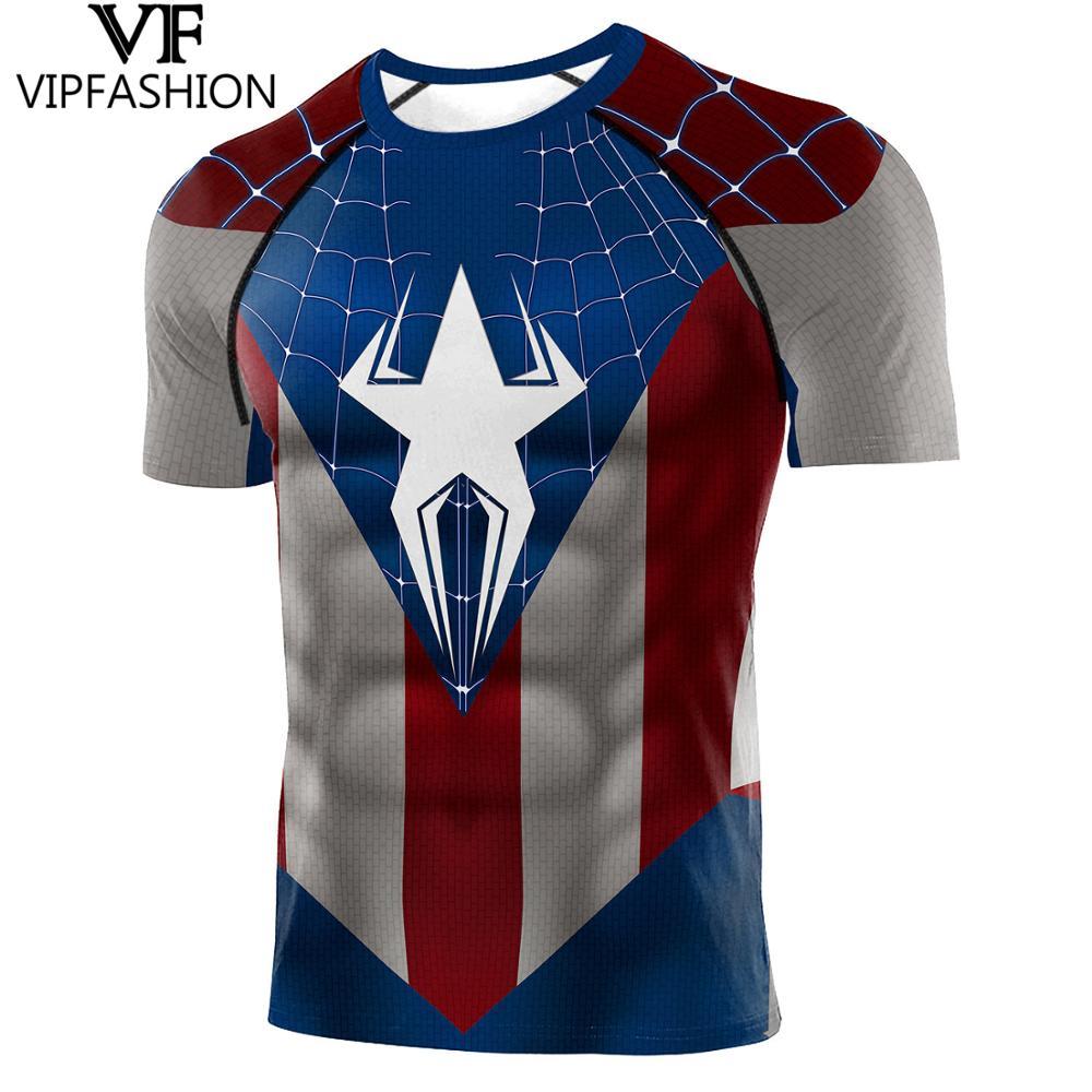VIP FASHION Raglan Short Sleeves Captain America Spiderman 3D Printed T-shirts Compression Shirt Superhero Cosplay Tops