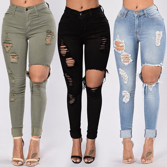 Hole Jeans Woman 2020 Stretch Denim Trousers High Waist Skinny Pencil Pants Slim Distressed Jeggings Femme Black Blue Army-Green 1