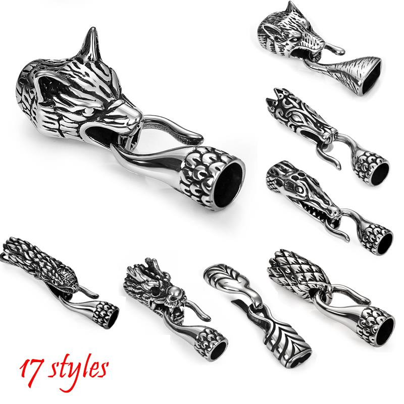 Stainless Steel Animals Wolf Head Bracelet Clasps Hook Connector Fit 6 8mm Leather Rope Cord End Clasps Men Bracelets Findings