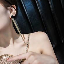 Винтажные серьги подвески золотого цвета с длинной нитью и кисточкой