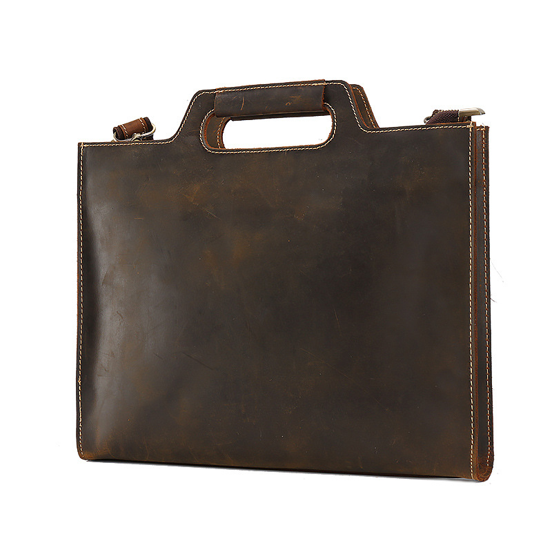 Nature Leather File Folder Document Bag Documents Storage Supplies With Pocket Inside Real Leather Office Business Supplies
