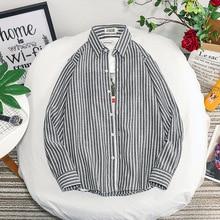 Fall Men's Vertical Long Sleeve Shirt Men's Jacket Popular Simple Striped Shirt недорого