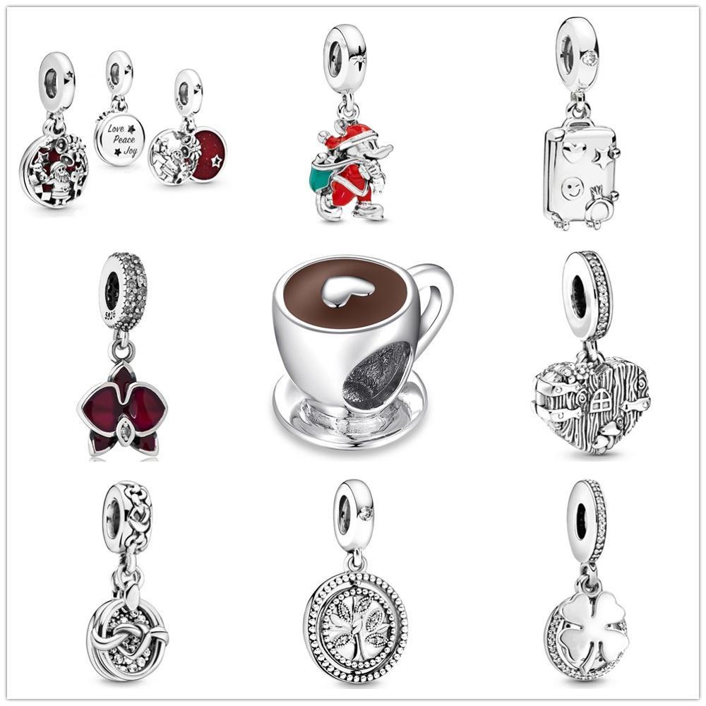 2019 invierno nuevo Santa amor la paz la alegría cuelga la taza de café encanto adecuado Pandora encantos plata 925 pulsera de cuentas de las mujeres DIY para la joyería|cuentas|   - AliExpress