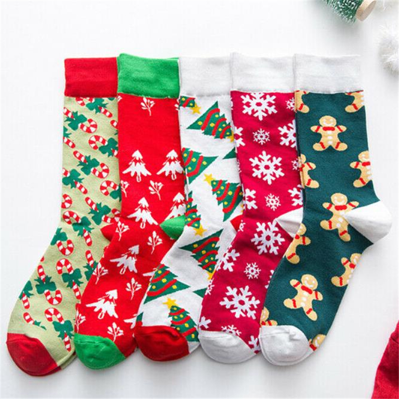 Christmas Socks 1 Pair Cute Girl Boy Women Cotton Sock Xmas Winter Fashion Cartoon Print Ankle Sock Unisex Warm Socks Gift