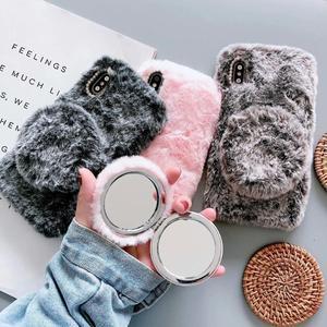 Luksusowe futro z królika z obudowa lustrzana dla iPhone 6 7 8 X XS XR 11 Pro Max 6S Plus okładka Bling diamentowa zimowa miękka futrzana skorupa pluszowa