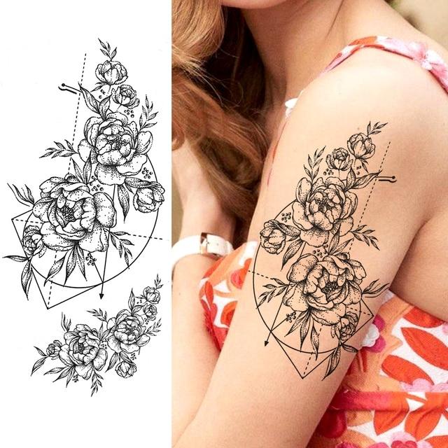 Purple Rose Jewelry Water Transfer Tattoo Stickers Women Body Chest Art Temporary Tattoo Girl Waist Bracelet Flash Tatoos Flower 5
