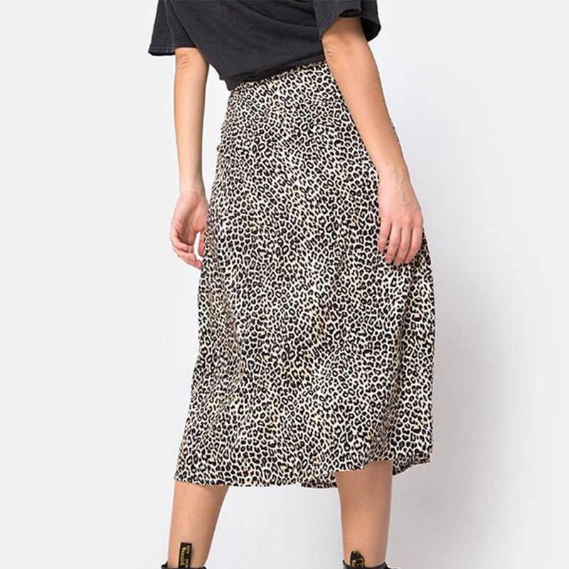 אופנה פיצול אונליין חצאית נשים הדפס מנומר גבוהה מותן חצאיות נקבה קיץ Streetwear סקסי Midi חצאית גבירותיי Bottoms