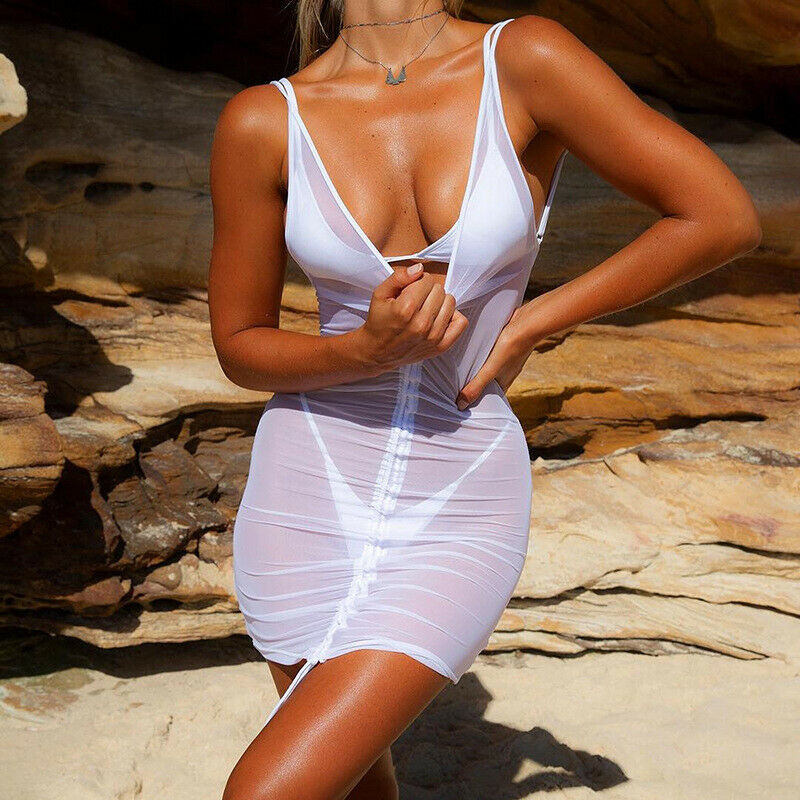Summer Women Sexy Mesh Beach Cover Ups Sheer Mesh See Through Bikini Cover Up Swimwear Swimsuit Bathing Holiday Beach Dress
