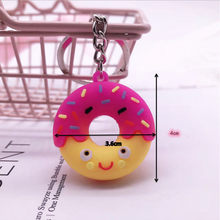 2020 Cartoon Cute Donut Keychain Imitation Food Dessert Bag Key Chain Pendant Double Sided PVC Soft Plastic Donut Keyring(China)