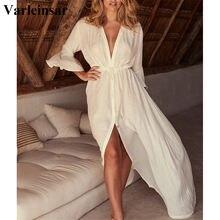 2020 playa largo Maxi vestido de las mujeres de playa Pareo túnica blanco vestido de cuello V bata de baño cubrir Bikini playa V2623