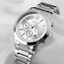 цена на SKMEI 9097 Fashion Men Alloy Band Rom-a Style Sub-Dial Analog Quartz Wrist Watch Gift